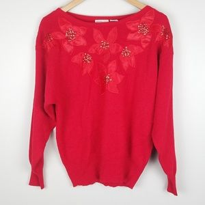 Vintage Christmas Red Poinsettias Long Sleeve top